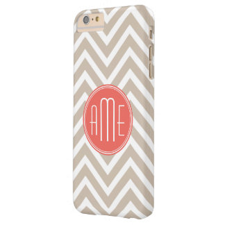 Stylish Taupe and Coral Custom Monogram Barely There iPhone 6 Plus Case