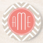 Stylish Taupe and Coral Custom Monogram Coaster