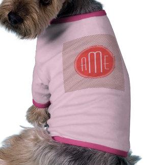 Stylish Taupe and Coral Custom Monogram Dog Tee Shirt