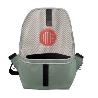 Stylish Taupe and Coral Custom Monogram Messenger Bag