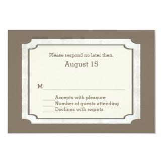 Stylish Taupe Custom Fall Wedding RSVP Card