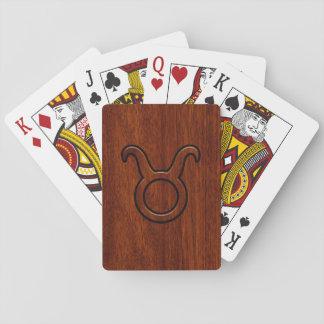 Stylish Taurus Zodiac Sign on Mahogany like print Poker Deck