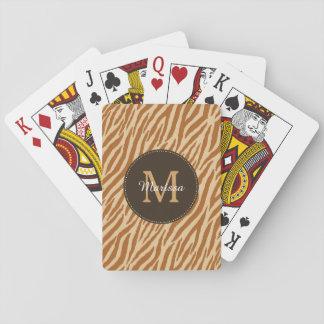 Stylish Tawny Brown Zebra Print Monogram and Name Playing Cards