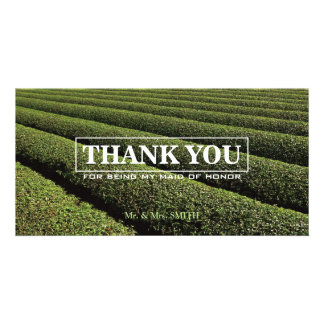 Stylish Tea Plantation Bridesmaid Thank You Card Personalized Photo Card