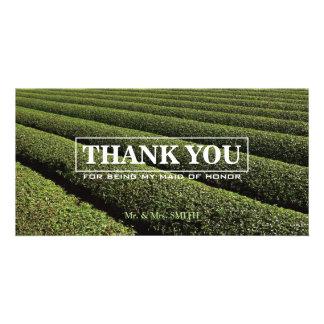 Stylish Tea Plantation Bridesmaid Thank You Card Personalized Photo Card