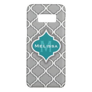 Stylish Teal and Gray Moroccan Tile Pattern Case-Mate Samsung Galaxy S8 Case