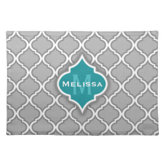Stylish Teal and Gray Moroccan Tile Pattern Placemat