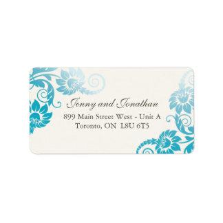 Stylish Teal Floral Address Labels