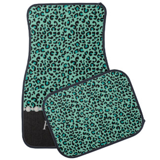 Stylish Teal Leopard Animal Print | Personalize Car Mat