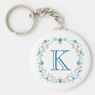 Stylish teal monogram keychain