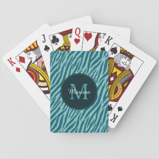 Stylish Teal Zebra Print With Monogram and Name Playing Cards