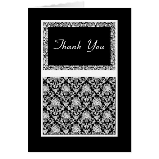 Stylish Thank You In Black And White Mehndi type Greeting Cards