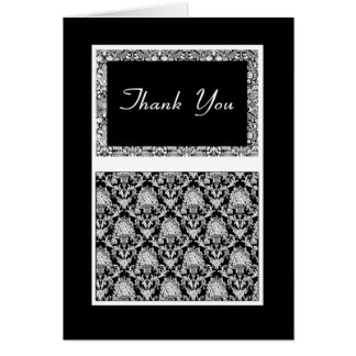 Stylish Thank You In Black And White Mehndi type Greeting Card