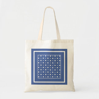 Stylish Tote Bag, Dark Blue with White Polka Dots