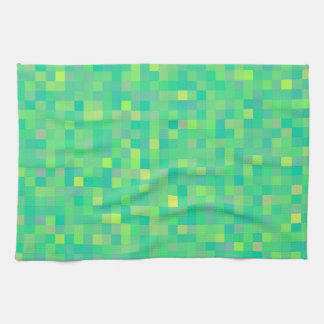 Stylish Trendy Green/Yellow Pixel Mosaic Pattern Kitchen Towel