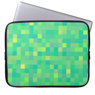 Stylish Trendy Green/Yellow Pixel Mosaic Pattern Laptop Sleeve