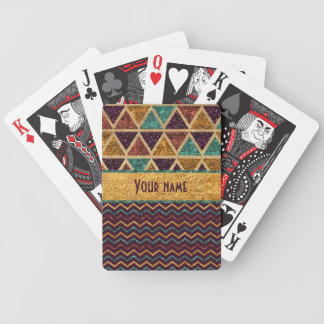 Stylish Triangles Chevrons Faux Glitter Gold Foil Poker Deck