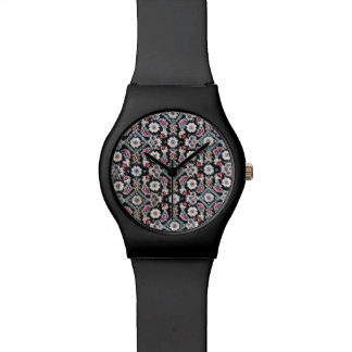 Stylish Trim Black & Floral Watch
