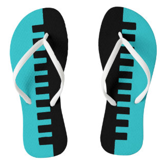 Stylish Turquoise and Black Pattern Flip Flops