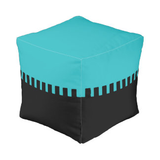 Stylish Turquoise and Black Pattern Pouf