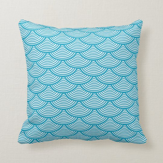 Stylish Turquoise and White Wave Pattern Pillow