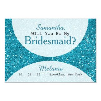 Stylish Turquoise Blue Glitter Bridesmaid Card
