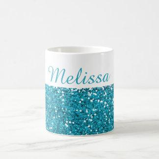 Stylish Turquoise Blue Glitter My Name Coffee Mug