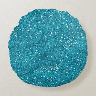 Stylish Turquoise Blue Glitter Round Pillow