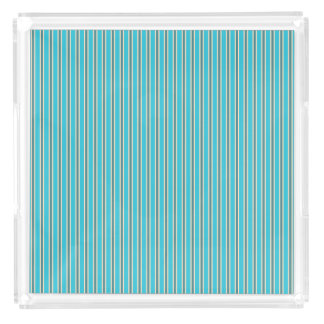 Stylish Turquoise Stripe Design Acrylic Tray