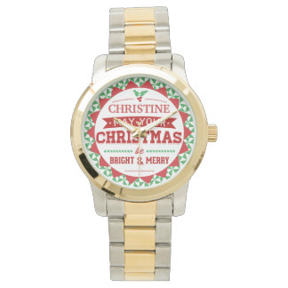 Stylish Vintage style Personalized Xmas typography Wrist Watches