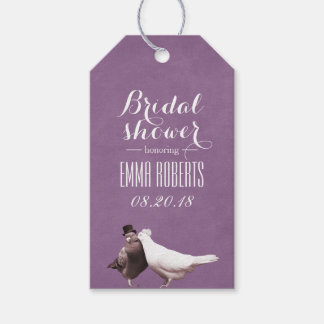 Stylish Violet Love Birds Bridal Shower Gift Tags