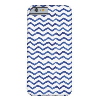 Stylish Watercolor Zigzag Indigo Blue Pattern Barely There iPhone 6 Case