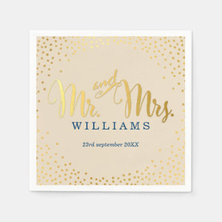 STYLISH WEDDING mini confetti gold navy ivory Paper Napkin