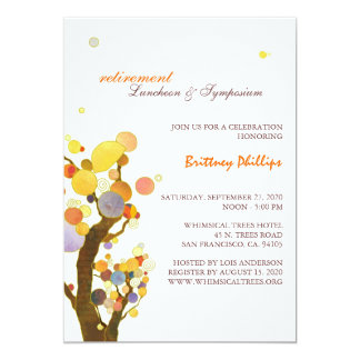 Stylish Whimsical Trees Retirement Party Card