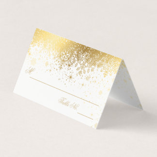 Stylish White and Gold Snowflakes| Place Cards
