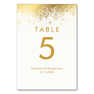 Stylish White and Gold Snowflakes Table Cards