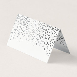 Stylish White and Silver Confetti | Place Cards