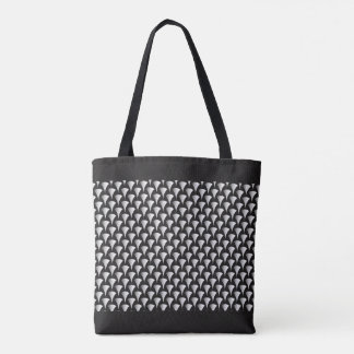 Stylish White Art Deco Fans on a Black Background Tote Bag