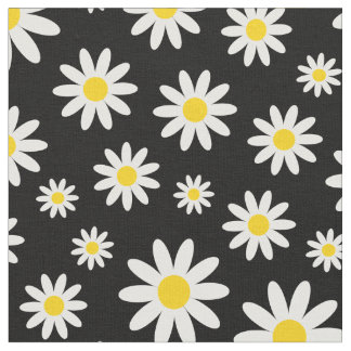 Stylish White Daisy Modern Cool Black Fabric