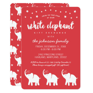 Stylish White Elephant Holiday Party Invitations