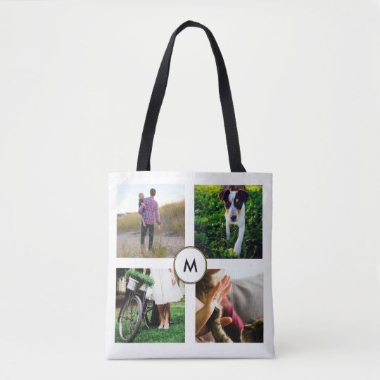 Stylish White Four Photo Grid with Monogram Tote Bag