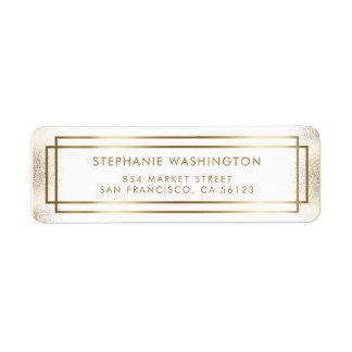 Stylish White & Gold Border Wedding Return Address Label