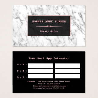 Stylish White Marble Rose Gold Appointment Business Card
