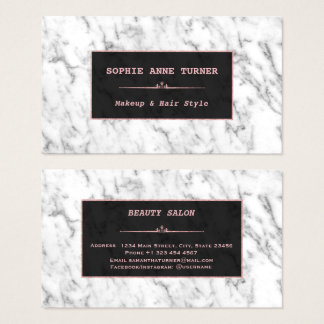 Stylish White Marble Rose Gold Makeup Artist Business Card