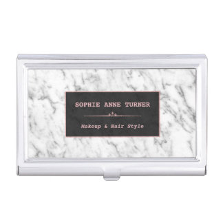 Stylish White Marble Rose Gold Makeup Artist Business Card Holder