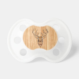 Stylish White Tail Deer Head Wood Grain Print Pacifier