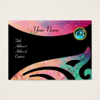 STYLISH WINGS MONOGRAM ,AQUA BLUE ,pink,green,teal Business Card