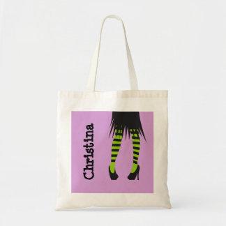 Stylish witch fashion stripe leggings Halloween Tote Bag