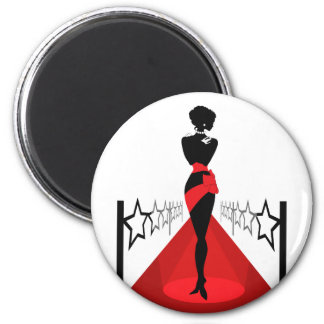 Stylish woman silhouette on red carpet with stars 2 inch round magnet