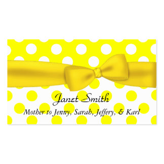 Stylish Yellow and White Polka Dot Mommy Card Business Card Template